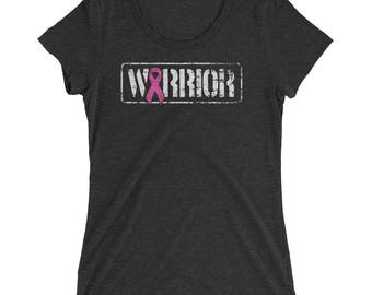 Breast Cancer - Warrior - Cancer Awareness - Breast Cancer Gift - Cancer Support - Cancer Survivor - Pink Ribbon Ladies' Fitted T Shirt