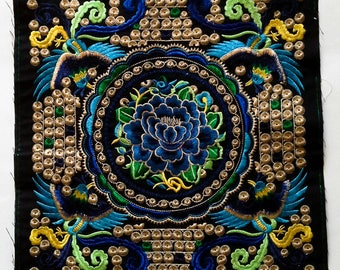 Flowers Embroidered, Hand Embroidered Hmong Fabric, Thai Hill Tribe, Hmong Textile, Hill Tribe Handmade.