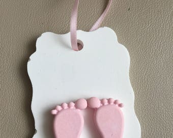 Handmade Scented Stone Writable Baby Foot and Wings Ornament, Babyshower favor