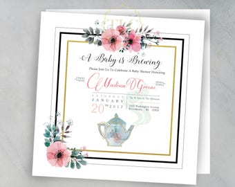 Baby Is Brewing. Tea Party. Baby Shower Invitation. Digital File
