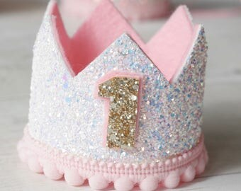 Sparkling White & Pink Birthday Crown, 1st Birthday, 2nd Birthday, Princess Birthday, Cake Smash, Photo Prop