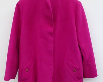 Vintage handmade wool coat. Cerise pink
