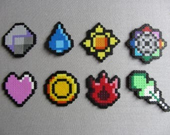 Hama Bead Pixel Creation - Indigo League Badges from the Pokemon Game Series