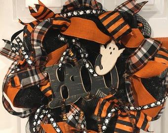 Halloween Wreath, Fall Wreath, Boo Wreath, Orange and Black Wreath, Ghost Wreath
