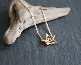 Crane bird Necklace Origami gold or silver necklace