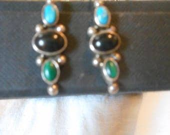 Marked Sterling silver earrings, green, turquoise, black