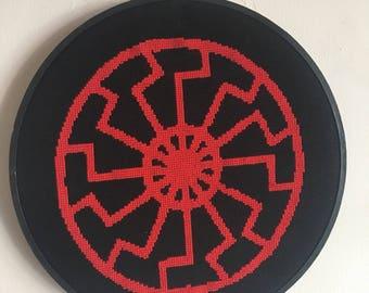 Hand Sewn Black Sun Occult Esoteric Symbol Schwarzsonne Cross Stitch WW2