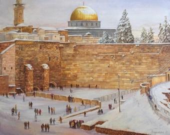 The Western Wall in Winter by Olga Magazanik