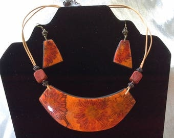 your orange polymer clay and earrings bib necklace