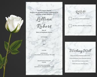 Classic Wedding Invitation Marble Background Wedding Invite/ Marble Invite/ Classic Invitation/ RSVP card/ Wishing well