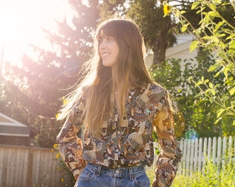 70's Printed Button-Up Blouse