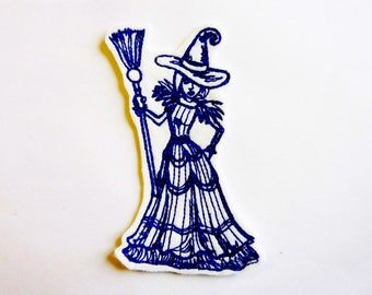 Embroidery patch Witch and broom