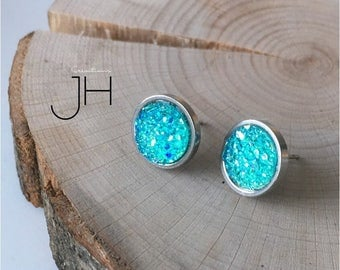 Nail stainless steel and turquoise aqua resin faux druzy earrings / Aqua druzy studs / woman post earrings / Stainless steel