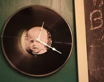 vinyl record photo clock personalised