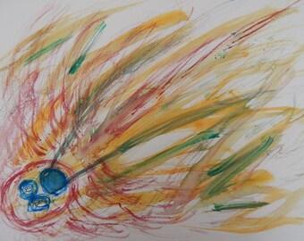Original Watercolor Painting Abstract Nightmare Creepy Bad Dream Sleep Paralysis on Watercolor Paper 11 x 15