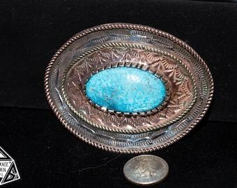 Sterling Silver | Copper | Brass | Kingman | Blue| Turquoise | Western | Southwestern | Style | Buckle | Western Wear | Cowboy | Cowgirl