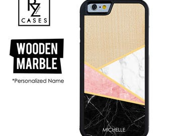 Wooden Phone Case, Marble Phone Case, Wooden Personalized Case, iPhone 7, iphone 6, Personalized Gift for Her, Wooden Marble, Custom Name