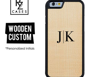 Wooden Phone Case, Initial Phone Case, Wooden Personalized Case, iPhone 7, iphone 6, Personalized Gift for Her, Wooden Custom Initial, 6s