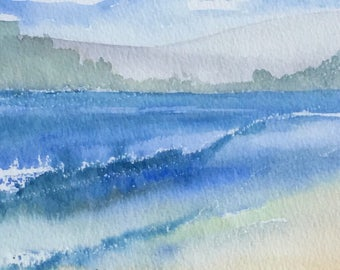 water colour painting sea scene with waves and beach and distant shore line