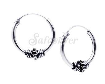 Tiny Sterling Silver Loop Earring,Dedicated Hoops Earrings,Thailand Made Bali Hoops