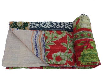 vintage Kantha Quilt Gudri Reversible Throw Twin  Handmade Quilt Blanket
