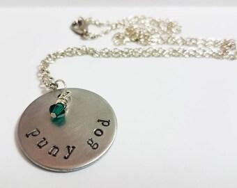Loki Jewelry Hulk Necklace Puny God The Avengers Geek Jewelry Movie Fan Necklace Hand Stamped Metal