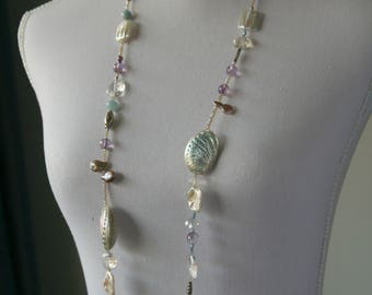 Necklace with different shaped freshwater pearls, amatrine, Swarovski and Rhinestones, shells, aquamarina, glass and silver beads