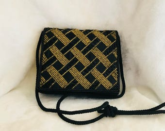 Vintage Black and Gold beaded evening purse