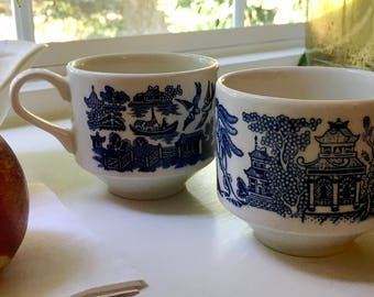 Lovely Vintage Churchill Blue Willow Tea Cups | Coffee Cups Lovebirds and Pagodas Asian-Inspired Design Made in England