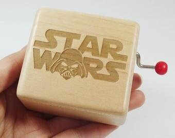 Handmade customized engraved nature wooden hand crank music box Star Wars