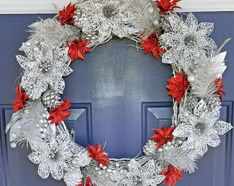 Winter wreath Christmas wreath with LED lights! Lights up! Xmas wreath with glitter sparkle shiny contemporary wreath silver red wreath