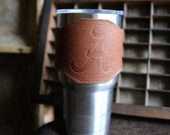 The Officially Licensed Alabama Apollo Leather Drink Cooler Sleeve – for 30oz Yeti Rambler Tumbler