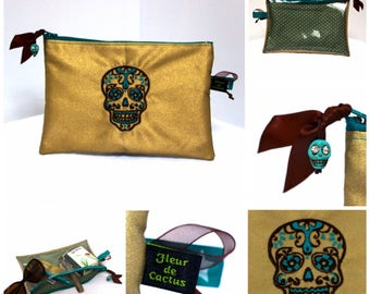 Embroidered zipper pouch skull Mexican Brown - Turquoise on gold coated