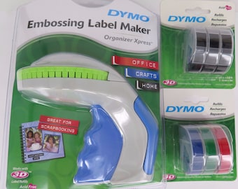 Dymo Xpress Package Embossing Label Maker + 3 Black + 3 Multi Colour Tapes