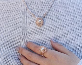 Swarovski Pearl Ring & Necklace Set