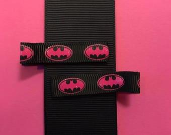 Batman Superhero, Lined Hair Clip, Baby Hair Clip, Toddler Hair Clip, Girl Hair Clip
