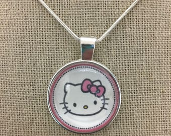 Hello kitty pendant necklace .Hello kitty charm necklace .Hello kitty jewelry .hello kitty keychain