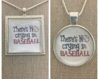 There's no crying in baseball pendant necklace.Baseball quote pendant.Baseball jewelry