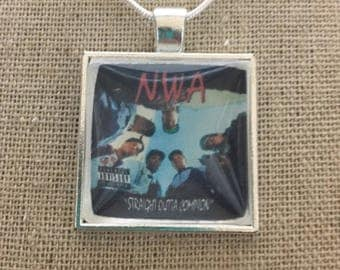N.W.A. Album cover photo pendant necklace/keychain.N.W.A.-straight outta compton.N.W.A. Jewelry.Hip hop jewelry