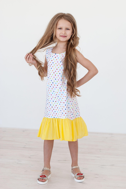 Polka dots girl dress Baby dots sun dress Baby girl summer white