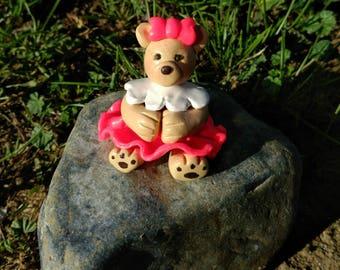 Teddy bear figure polymer clay