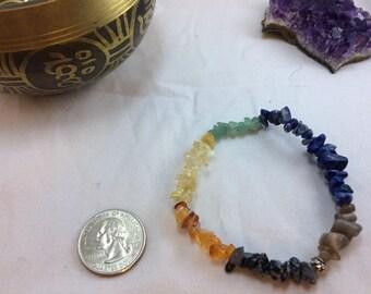 Chakra Gemstone Chip Bracelet - Yoga Bracelet - Energy Bracelet - Healing Bracelet - Calming Bracelet - Boho Chic