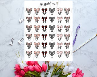 Bow Paper Clips Planner Stickers