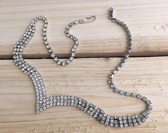 Vintage Art Deco Style Rhinestone Necklace Choker