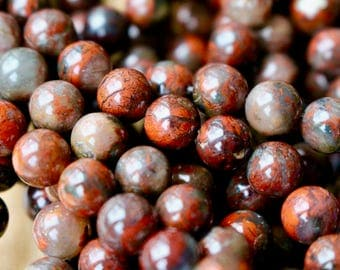 8mm Red Brecciated Jasper beads, full strand, natural stone beads, round, 80077