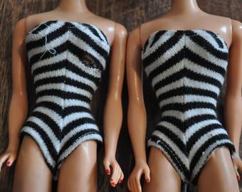 Vintage Barbie Clothes - Black and White Striped Swim Suit Pair
