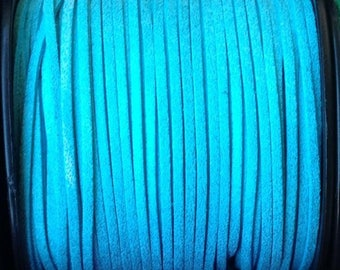 1 m of 3mm wide turquoise glitter suede cord