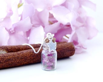 Crew neck small starry bottle glass with dried flowers, romantic style - purple and silver colors
