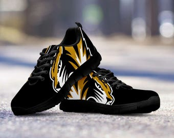 Missouri Tigers Football Fan Custom Black Running Shoes/Sneakers/Trainers - Ladies + Mens Sizes