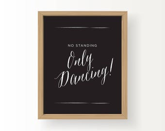 8x10_White on Black Wedding Sign_Only Dancing
